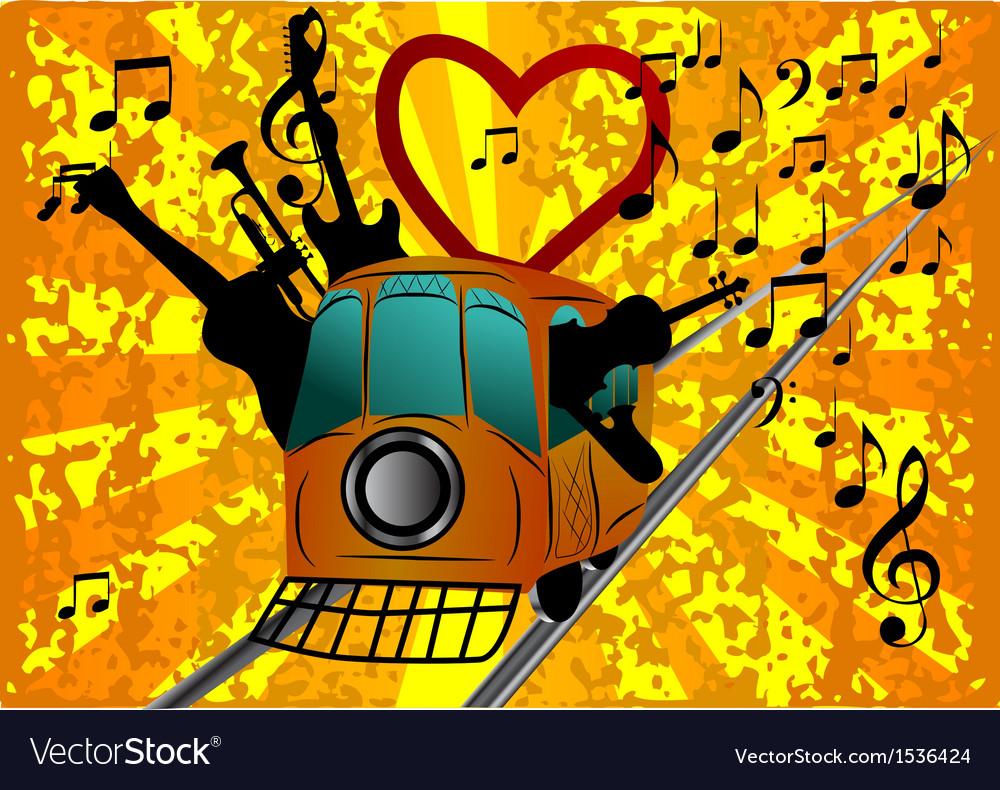 Musical retro tram vector