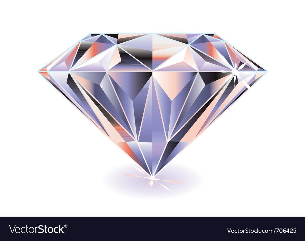Cut diamond with shadow vector