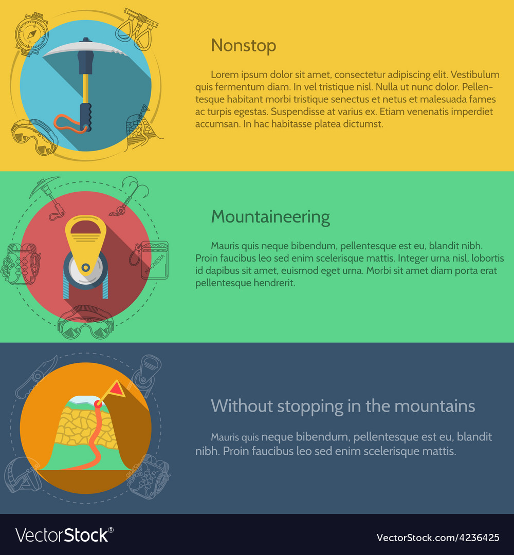 Mountaineering equipment flat color vector