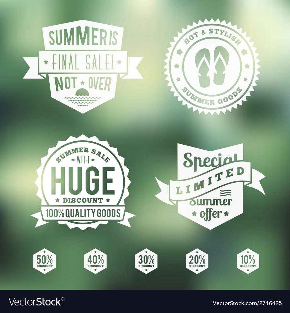 Summer sale vintage badges set vector
