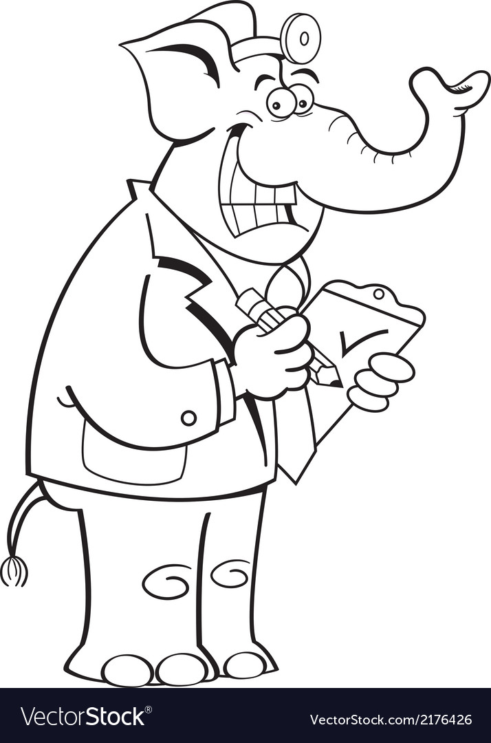 Cartoon elephant doctor vector