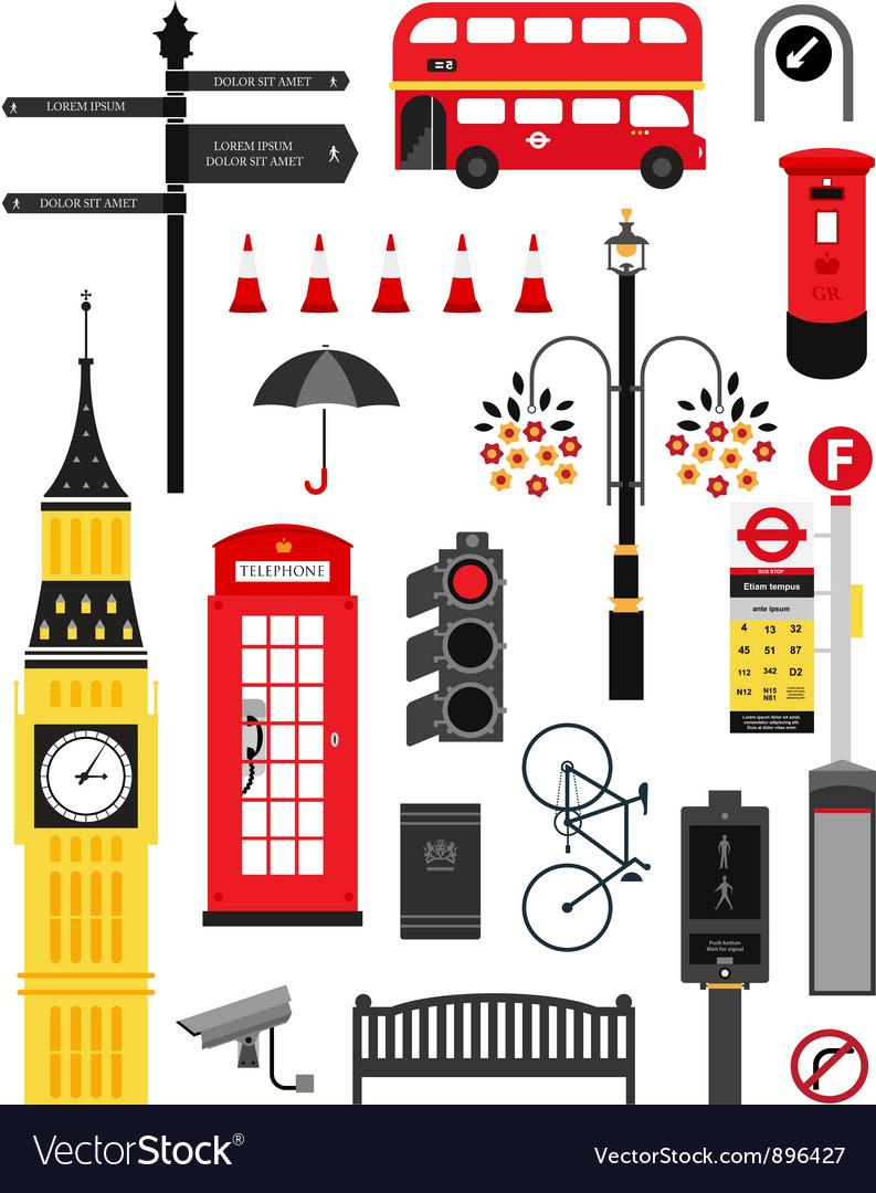 London city street icon set vector