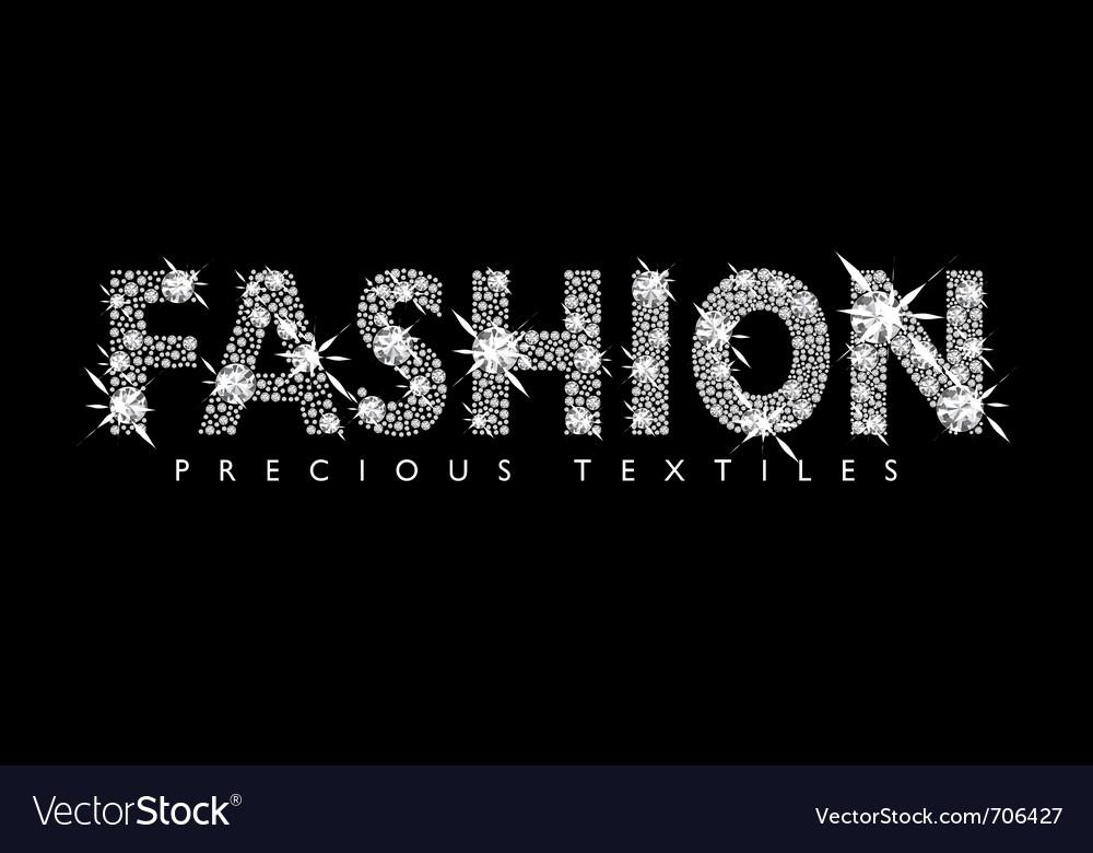 White diamond fashion text vector