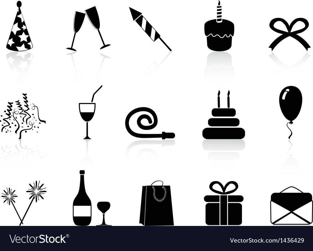 Black celebration icons set vector