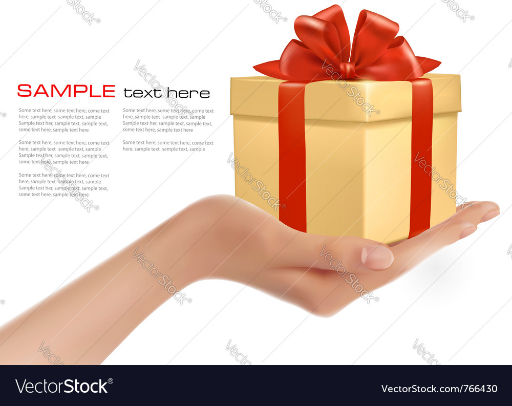 Gift box in hand vector