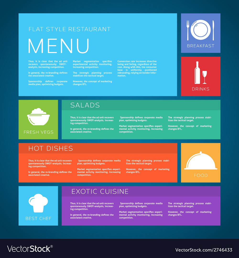 Restaurant menu template flat style vector