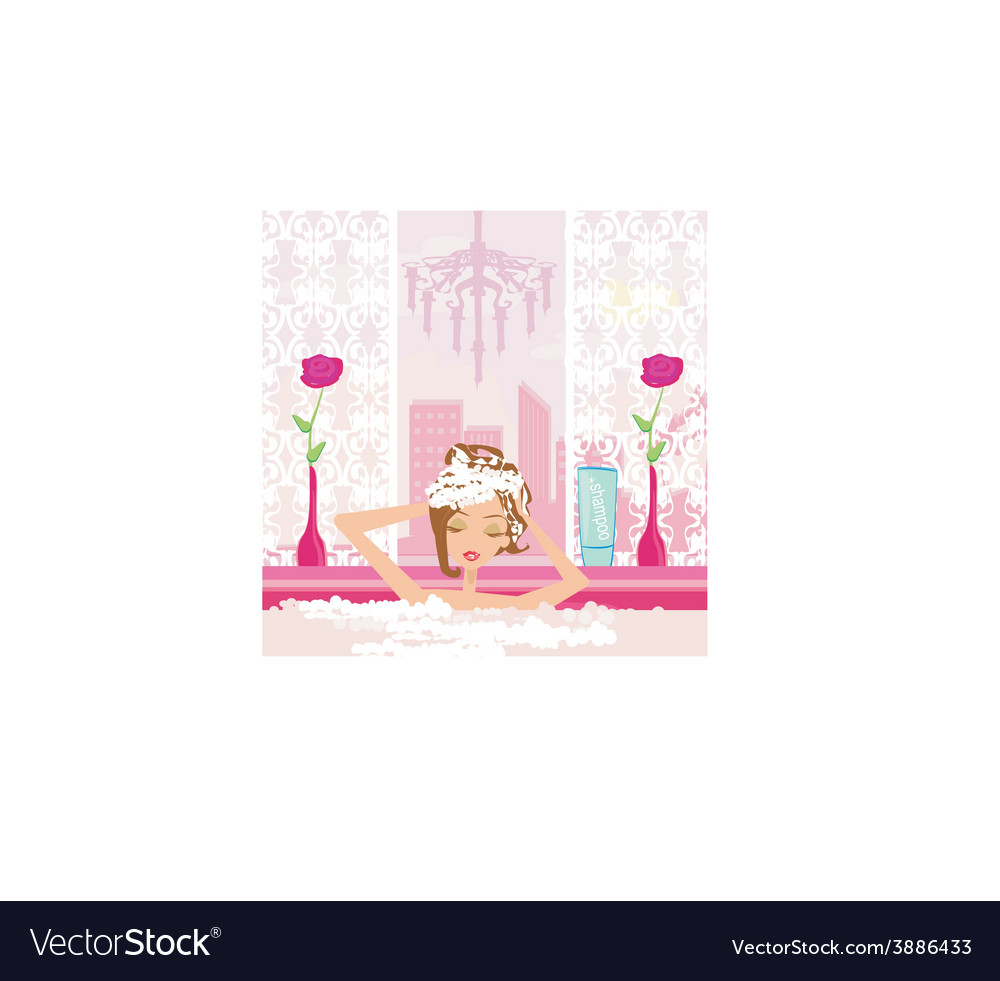 Woman washing hair in bubble bath vector
