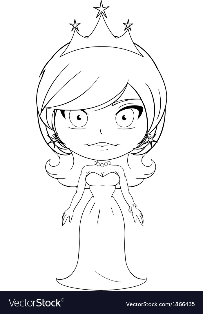 Princess coloring page 6 vector