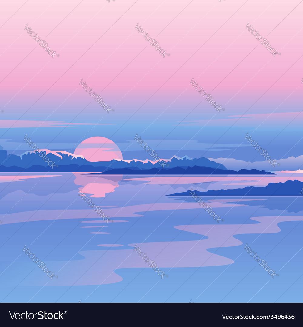 River sunset landscape vector