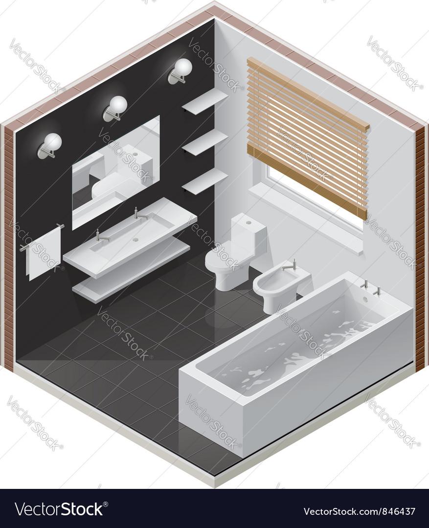 Isometric bathroom icon vector
