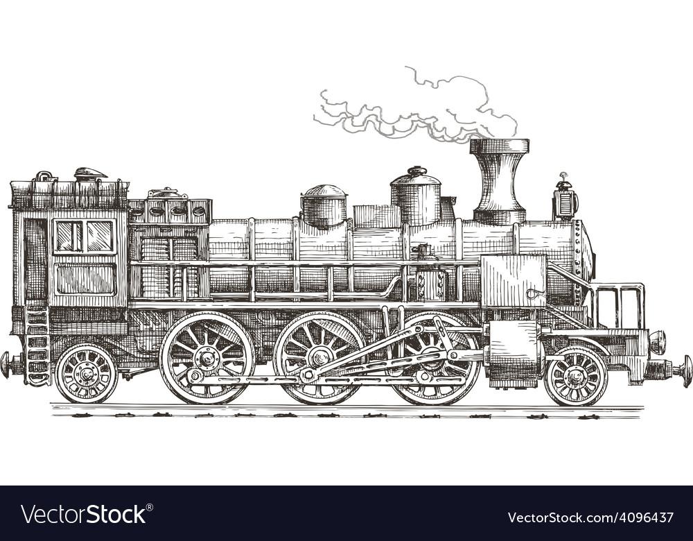 Retro steam locomotive logo design template vector