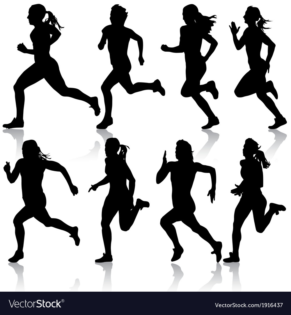 Set of silhouettes runners on sprint women vector