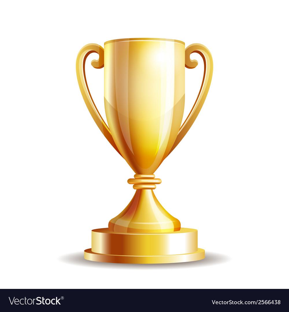 Golden trophy cup vector