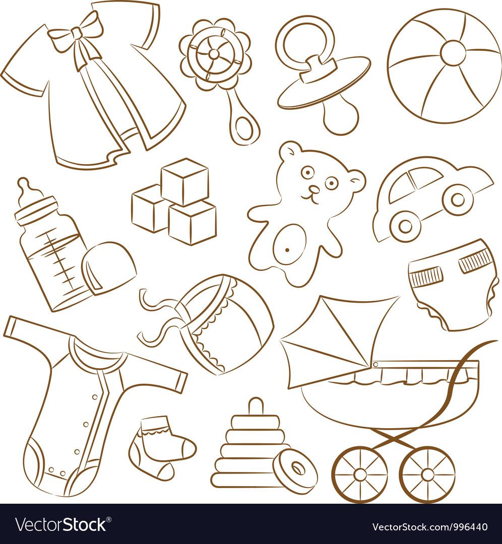 Doodle baby icon set vector