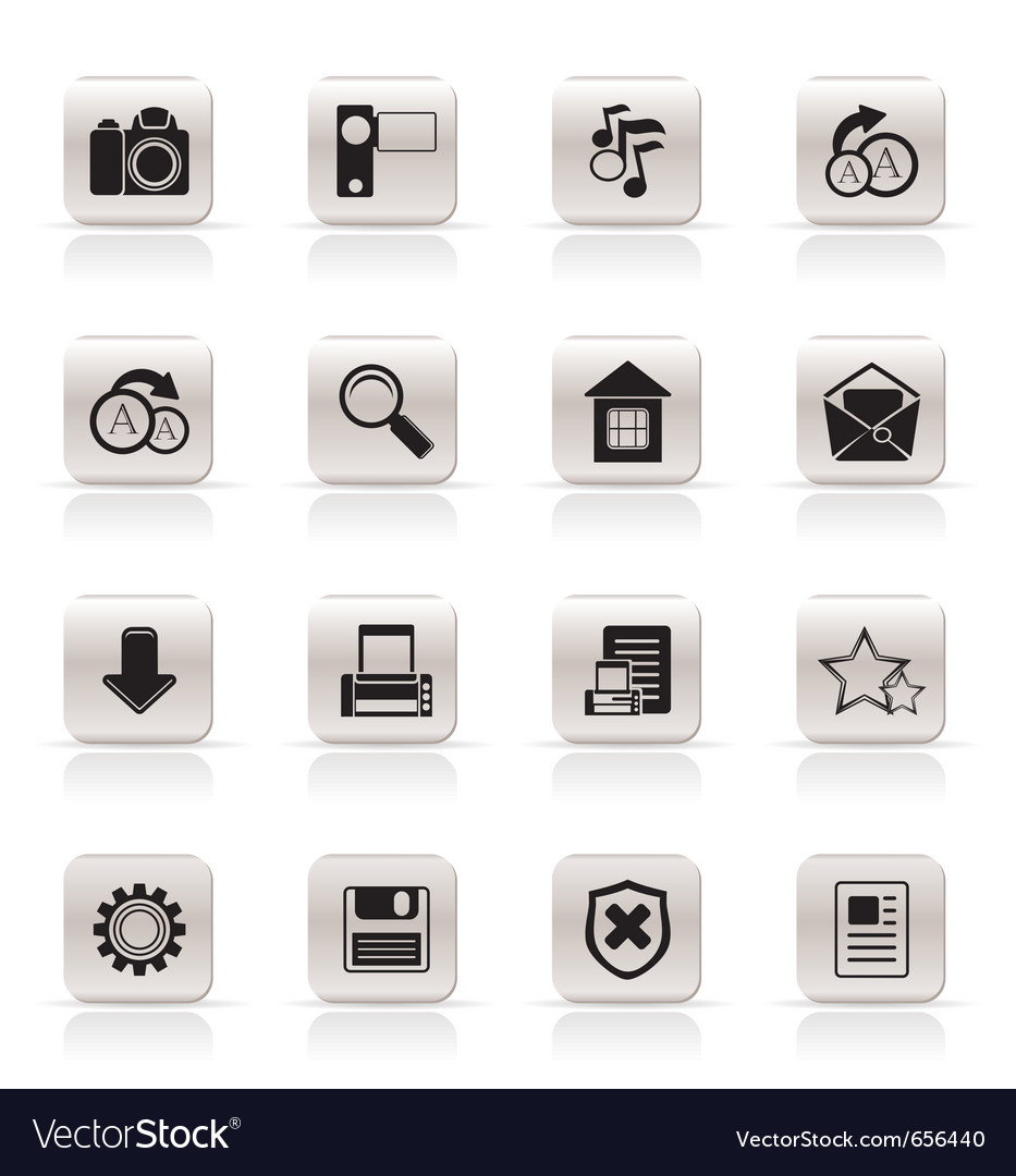 Simple internet and website icons vector