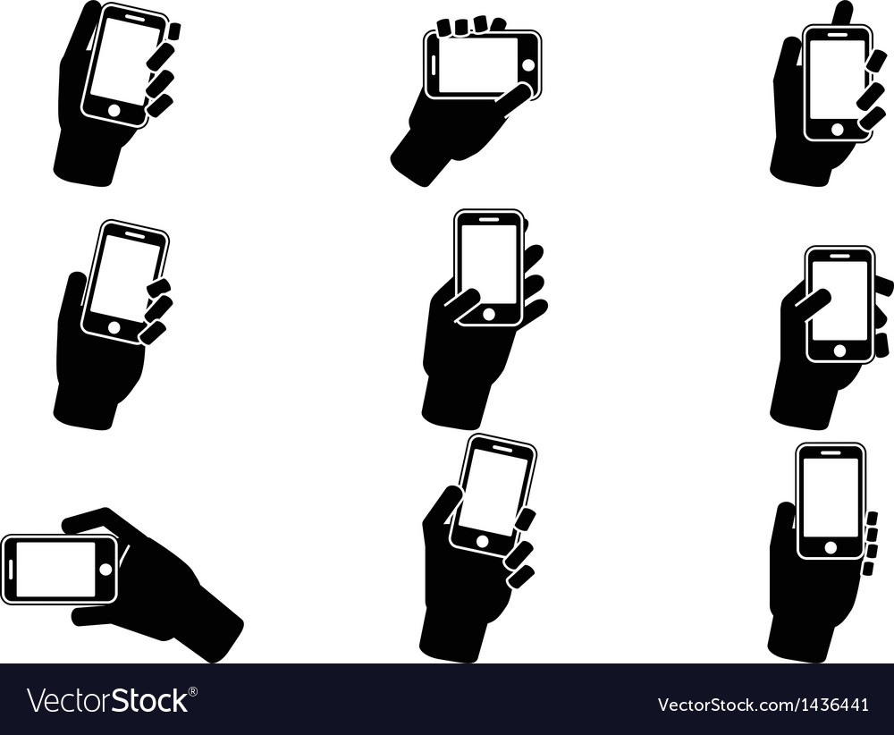 Hand holding smartphone icons vector