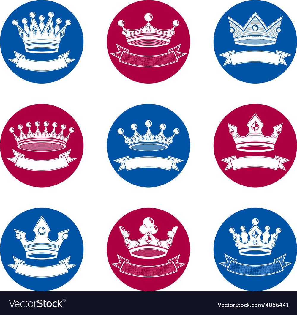 Stylized royal 3d design elements set of king vector