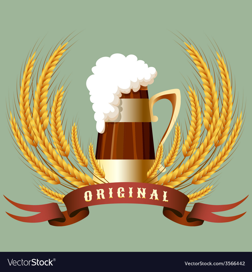 Beer mug cereal ears and banner vector