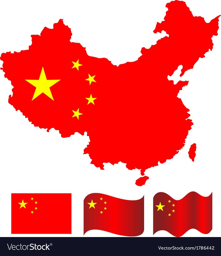 China map and flag of china vector