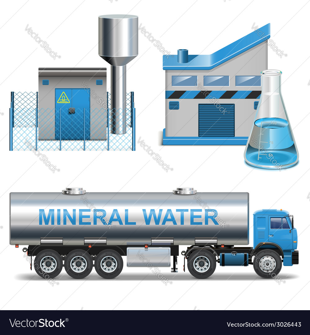 Mineral waters production vector