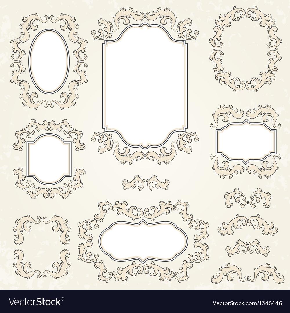 Design elements and page decoration vintage frames vector
