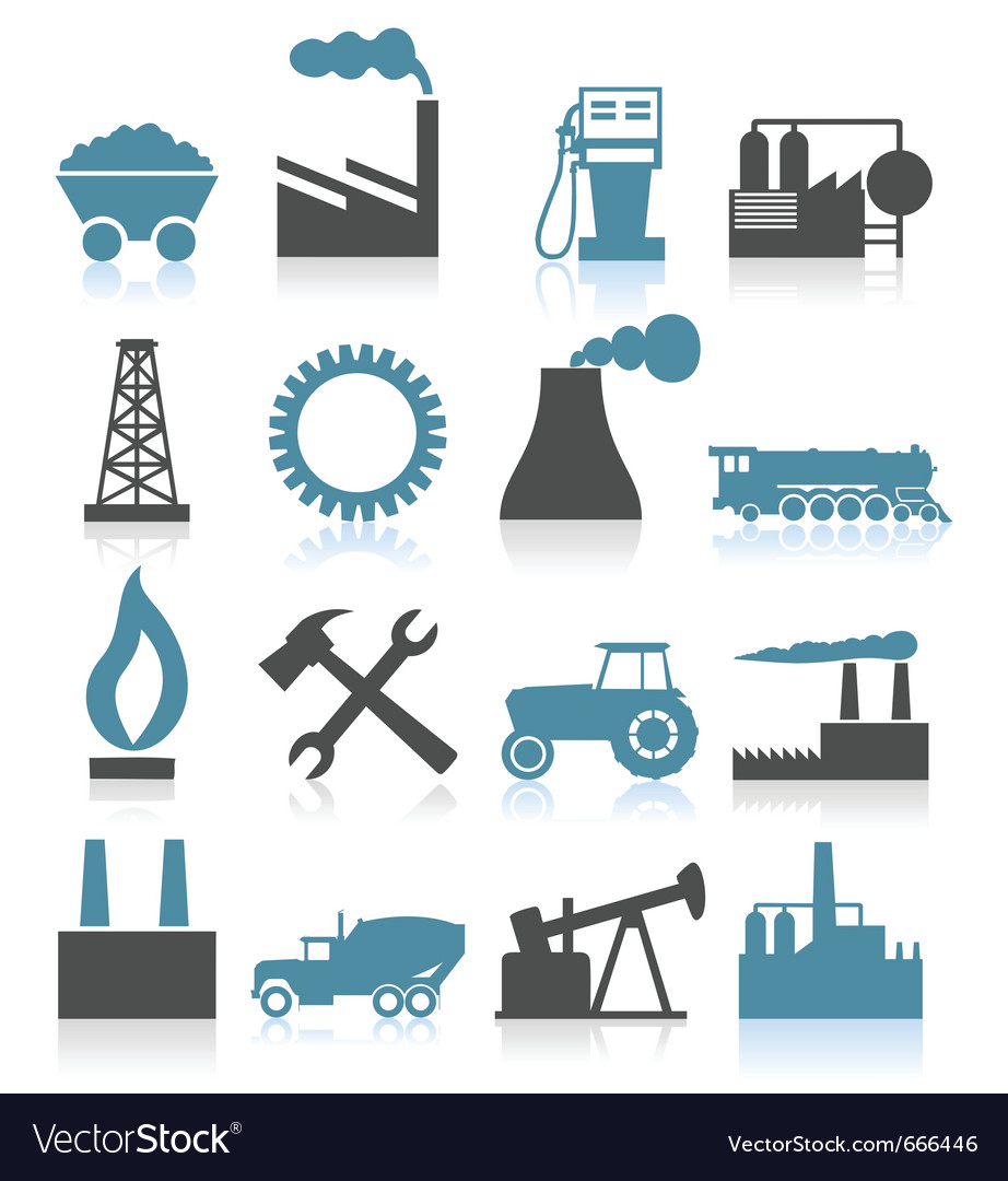 Industry themed icons vector