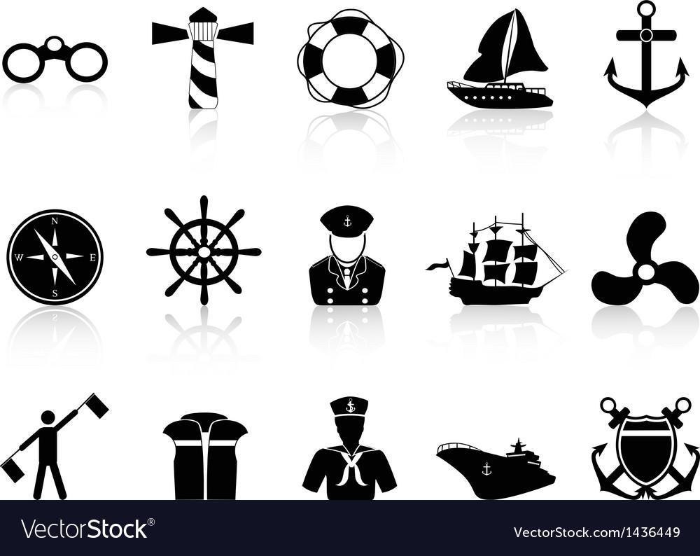 Black sailing icons vector