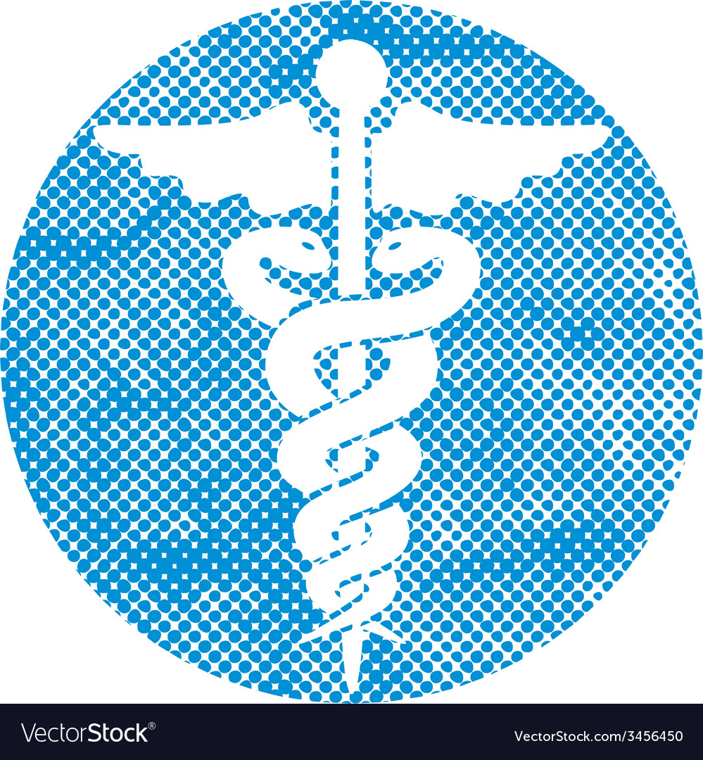 Caduceus medical icon with pixel print halftone vector