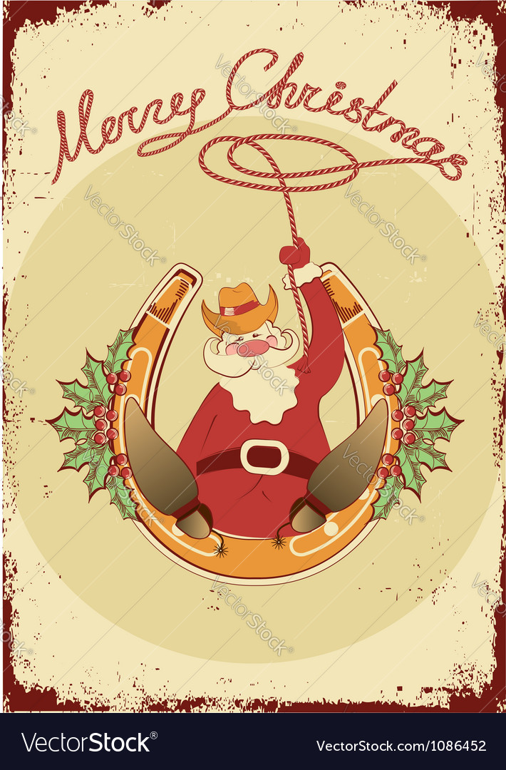 Santa sit on horseshoe with cowboy lasso on vector