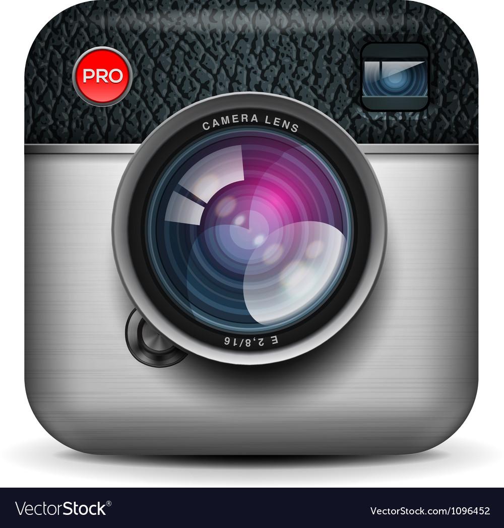 Vintage photo camera icon vector