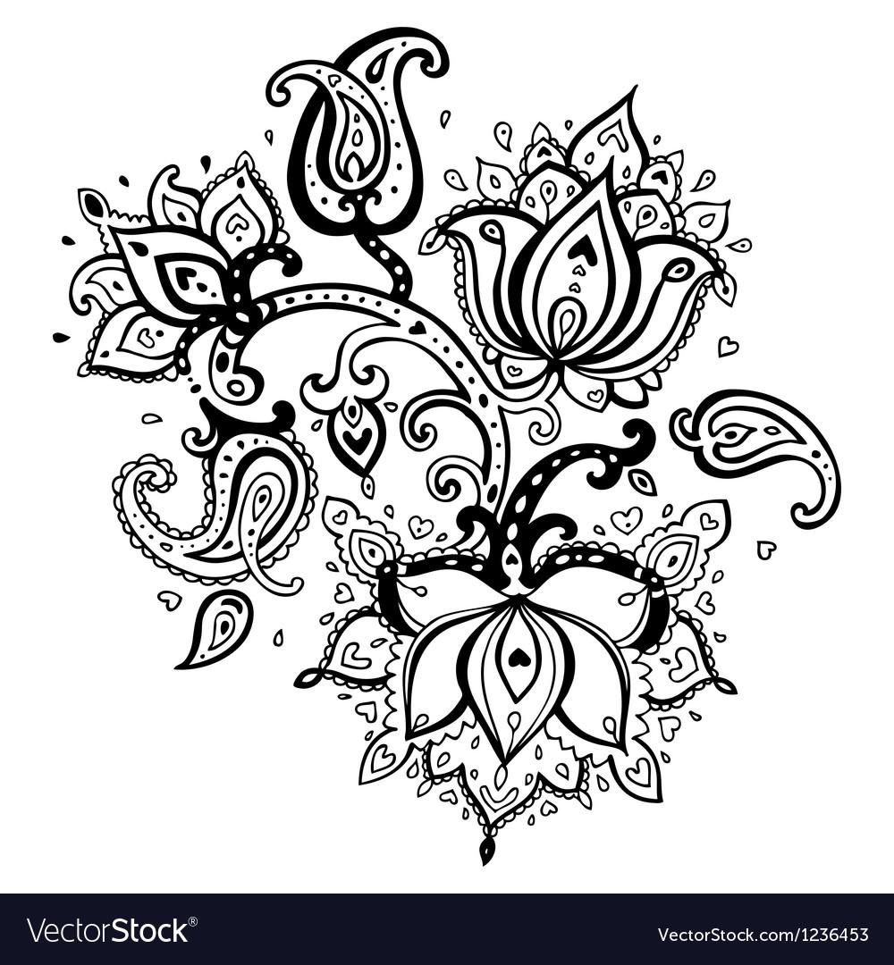 Hand drawn paisley ornament vector
