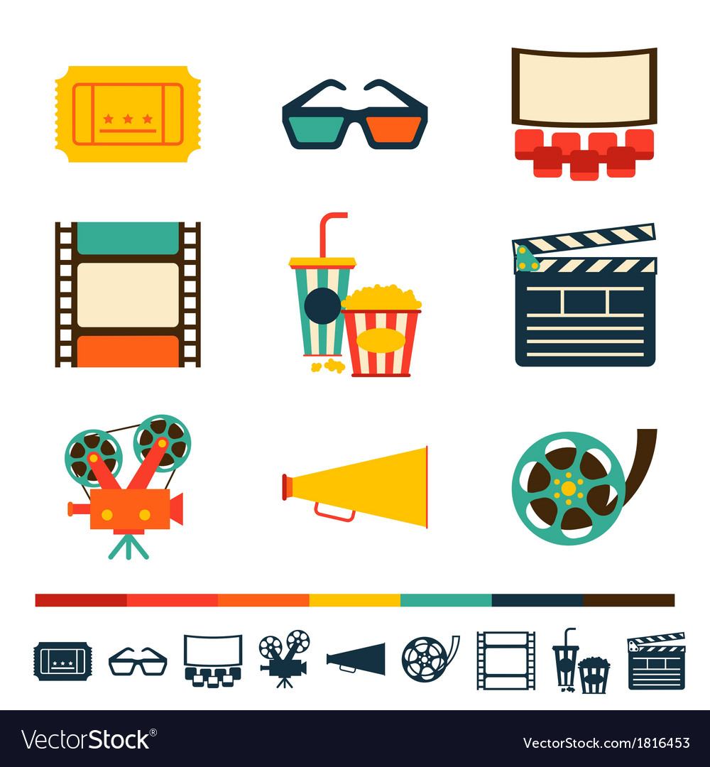 Set of movie design elements and cinema icons vector