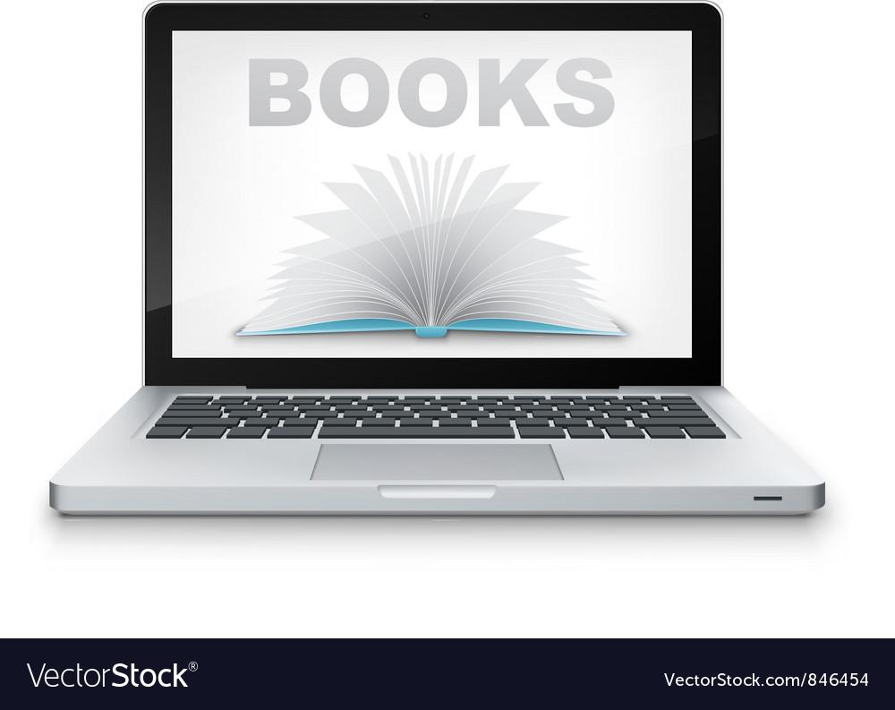 Open book in laptop vector