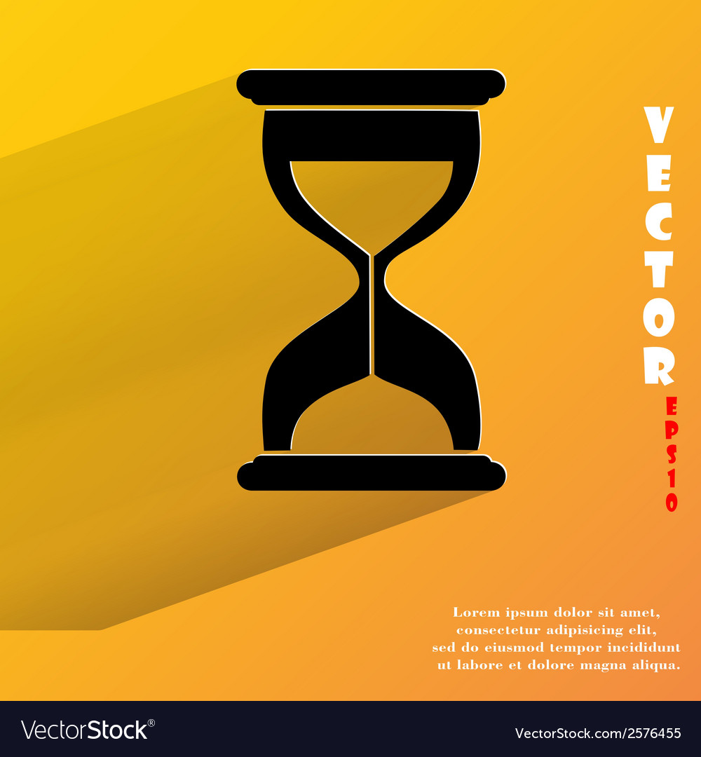 Sand clock glass timer  flat modern web button vector