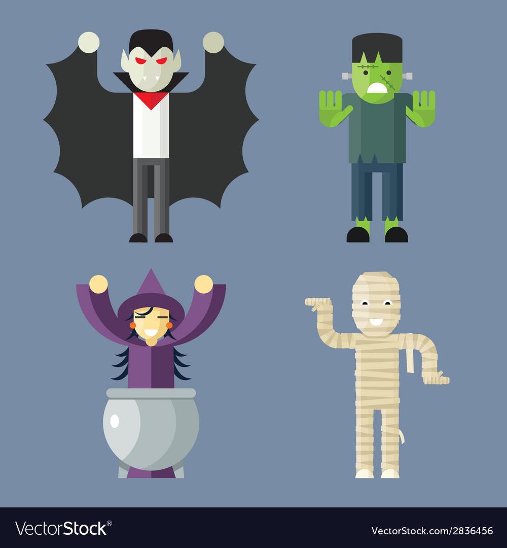 Halloween characters icons set on stylish vector