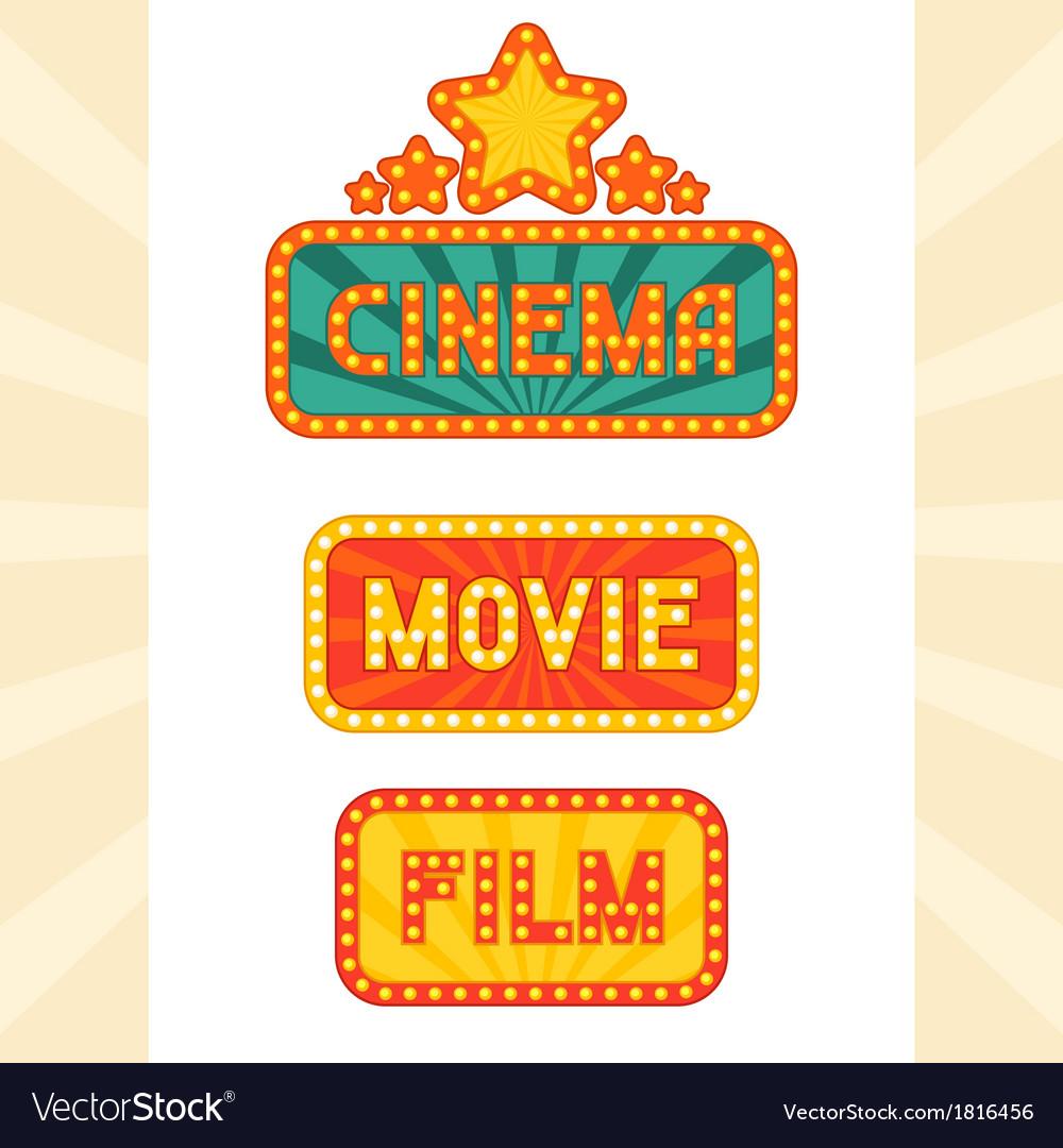 Set of glowing retro cinema neon signs vector
