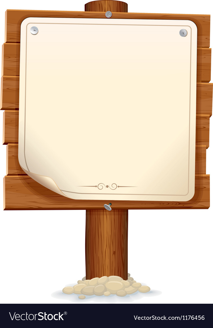 Wooden sign with paper scroll image vector