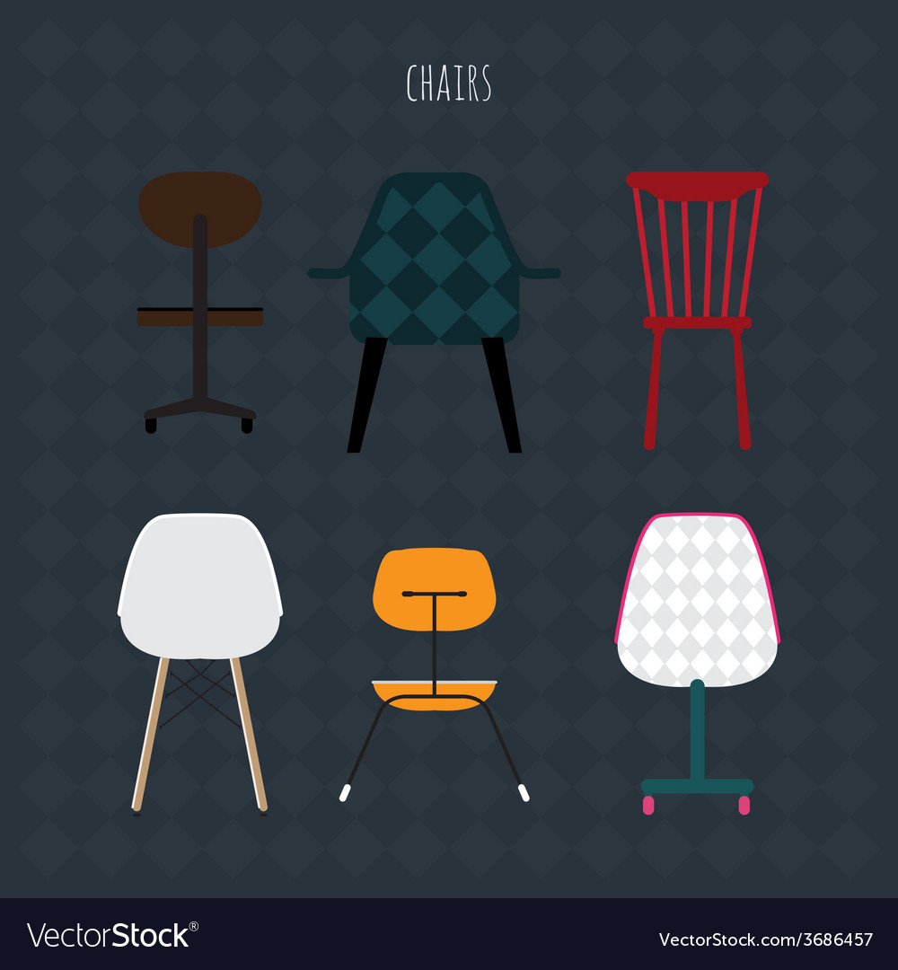 Set of colorful chairs flat vector