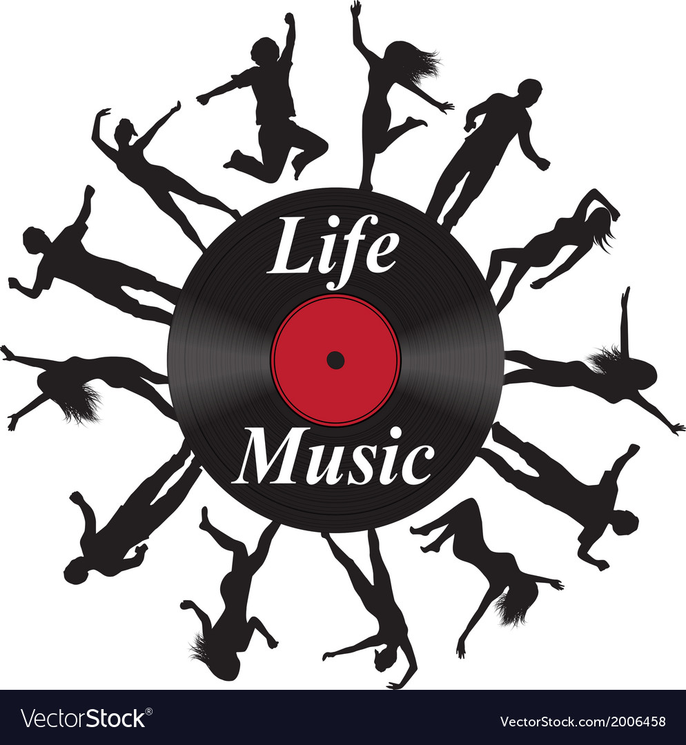 Record music and silhouettes of dancing people vector