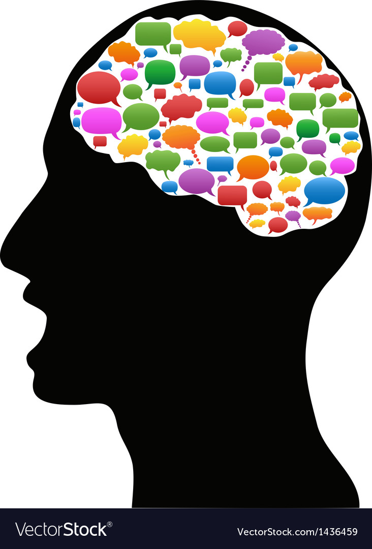 Head with speech bubbles vector