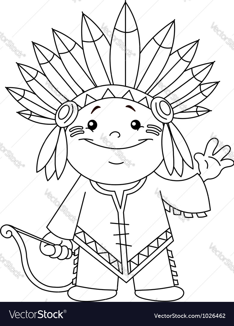 Outlined indian kid vector