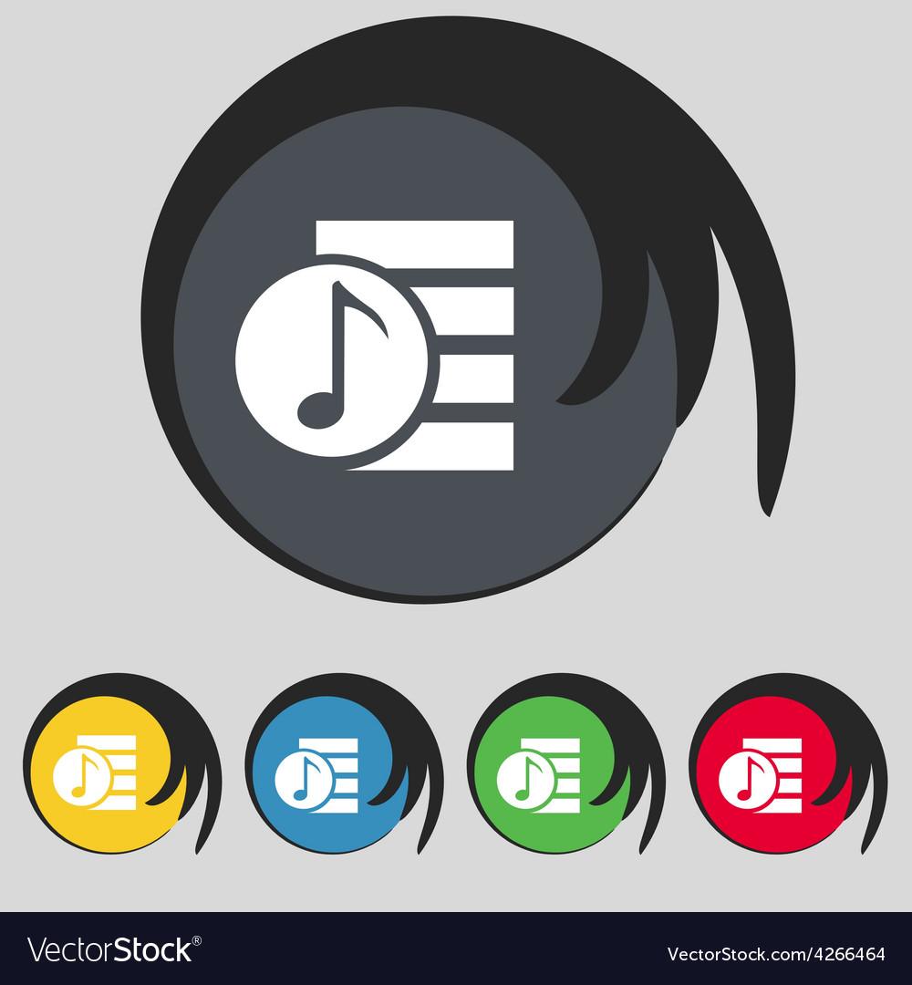 Audio mp3 file icon sign symbol on five colored vector