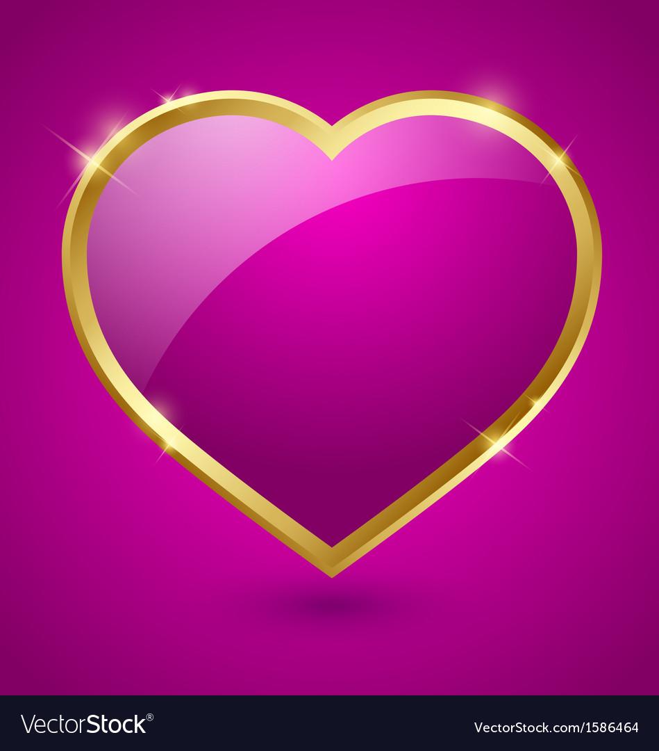 Purple and golden heart vector