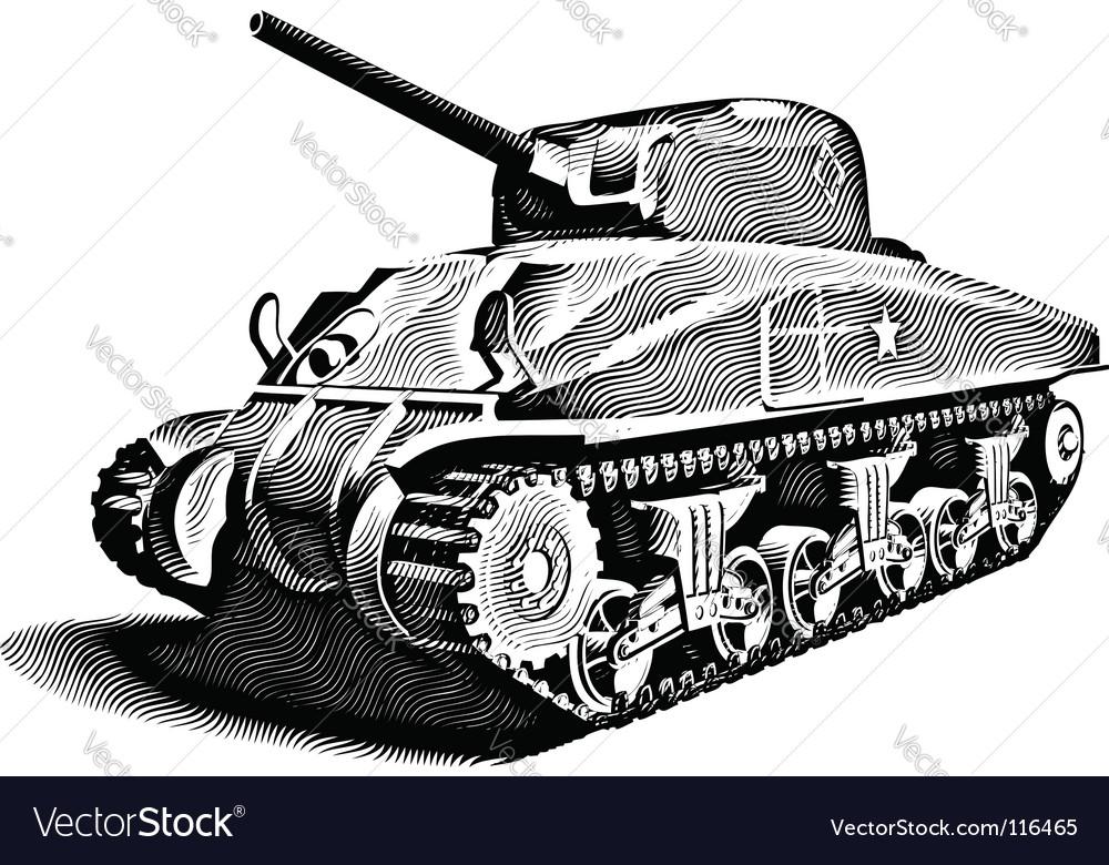 American tank engraving vector