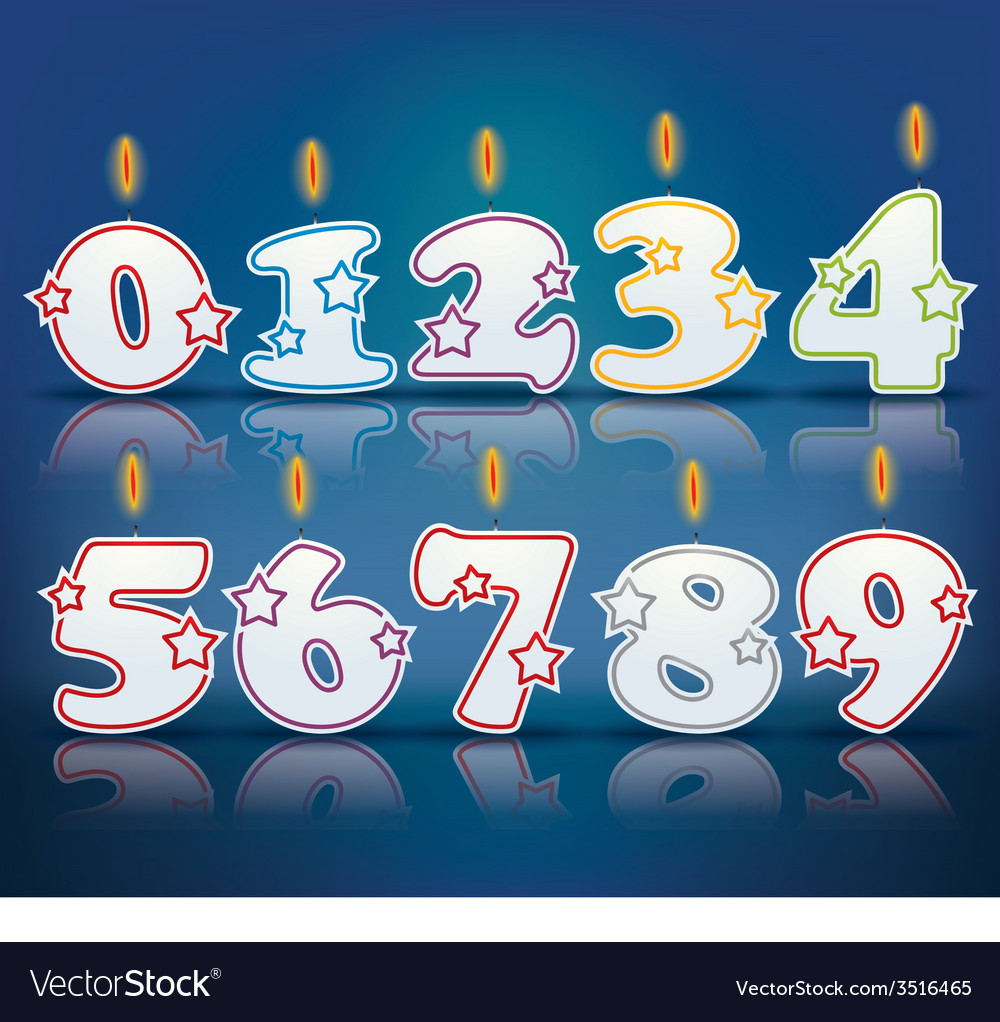 Birthday candle numbers vector