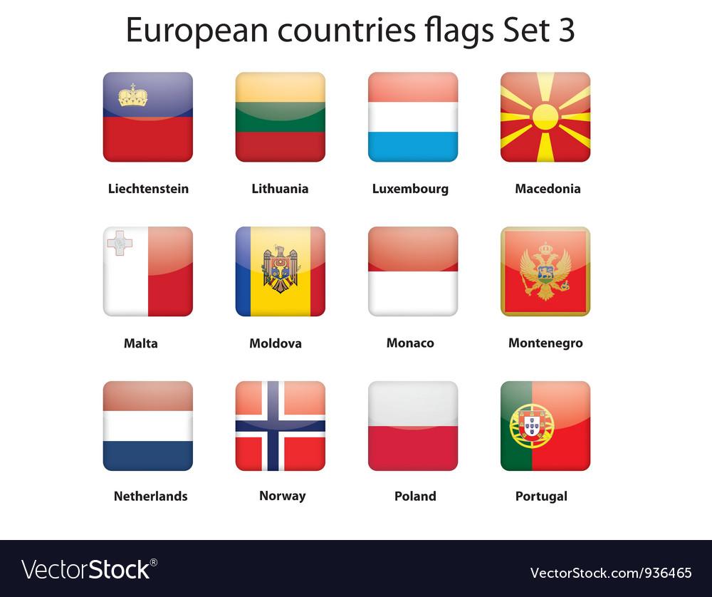 European countries flags set 3 vector