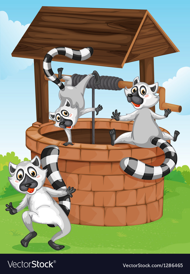 Three lemurs at the man-made well vector