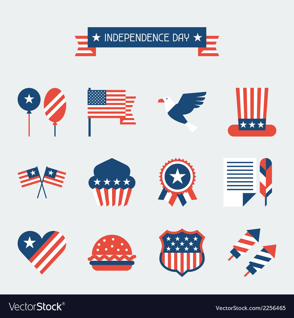 United states of america independence day icon set vector