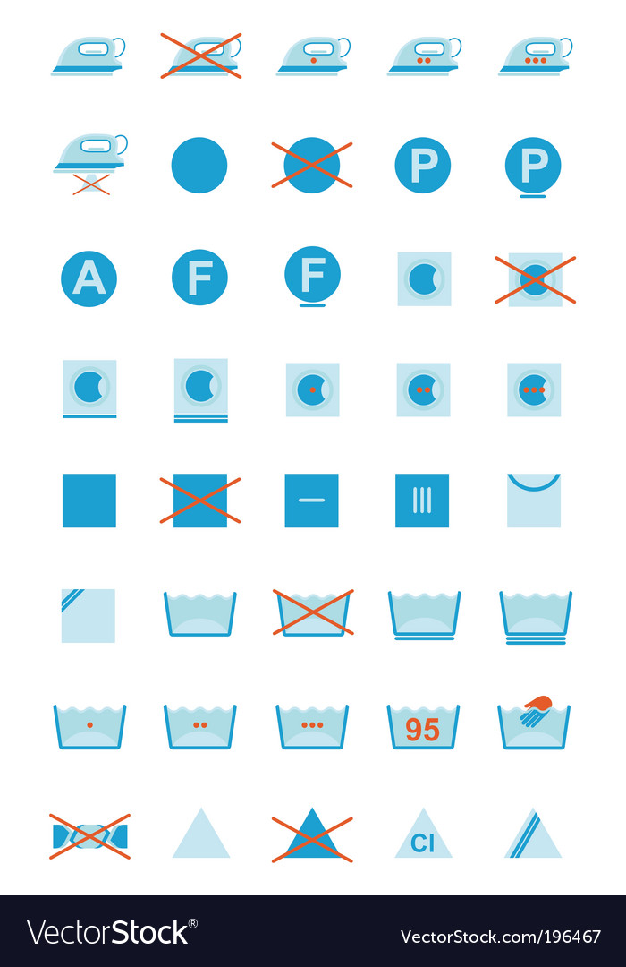 Clothing care symbols vector