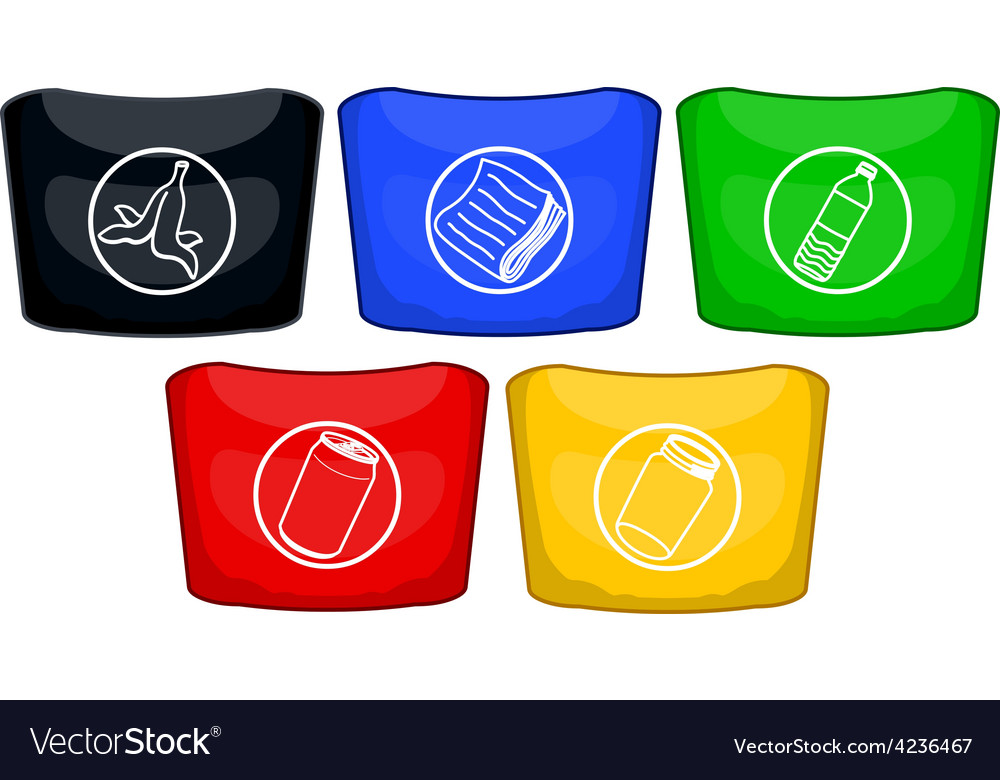 Trash cans in different colors for recycling vector